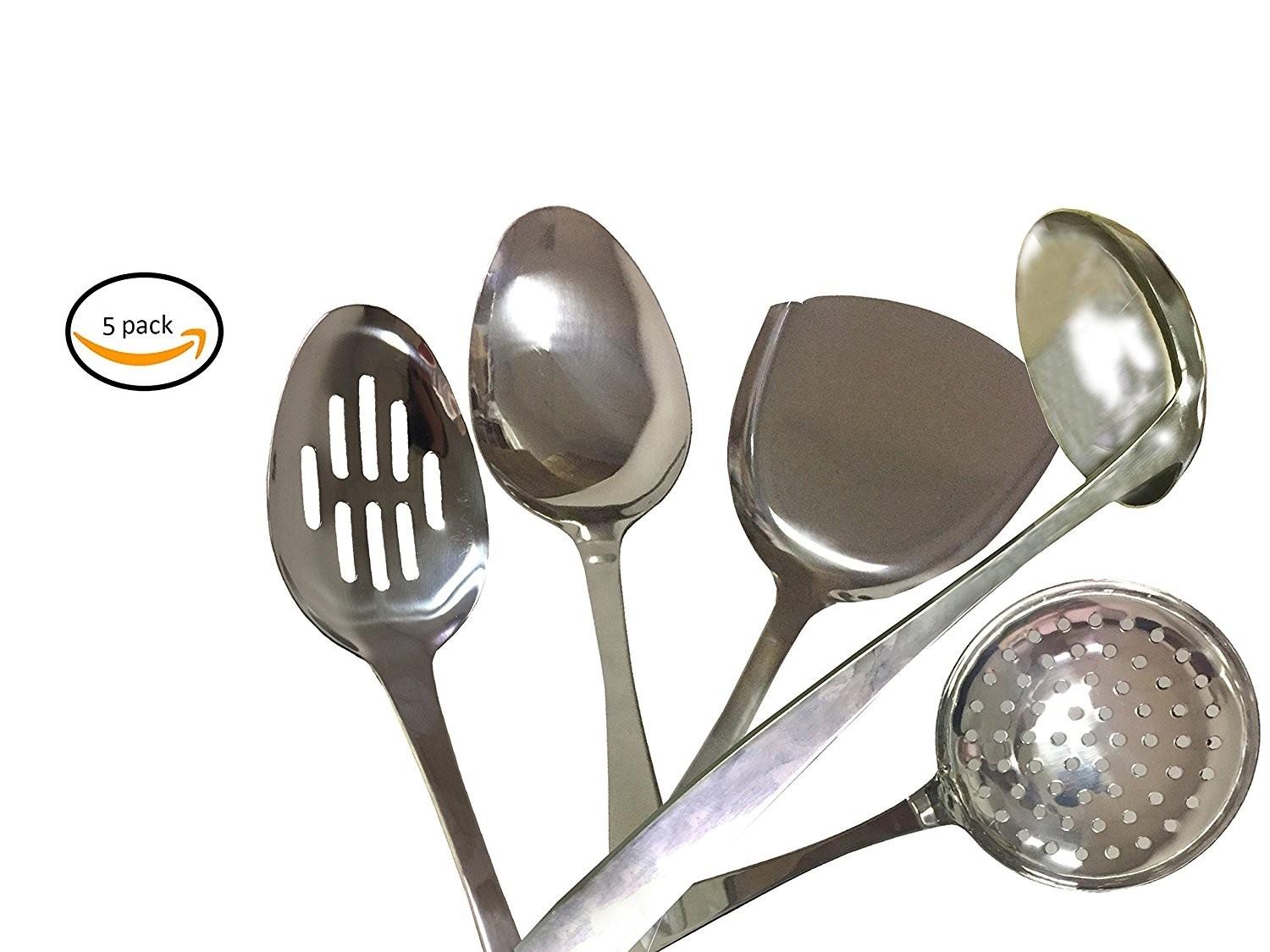 Bioexcel 5 Pcs Stainless Steel Kitchen Utensil Set, Cooking Serving Spoons  Set   All Mix