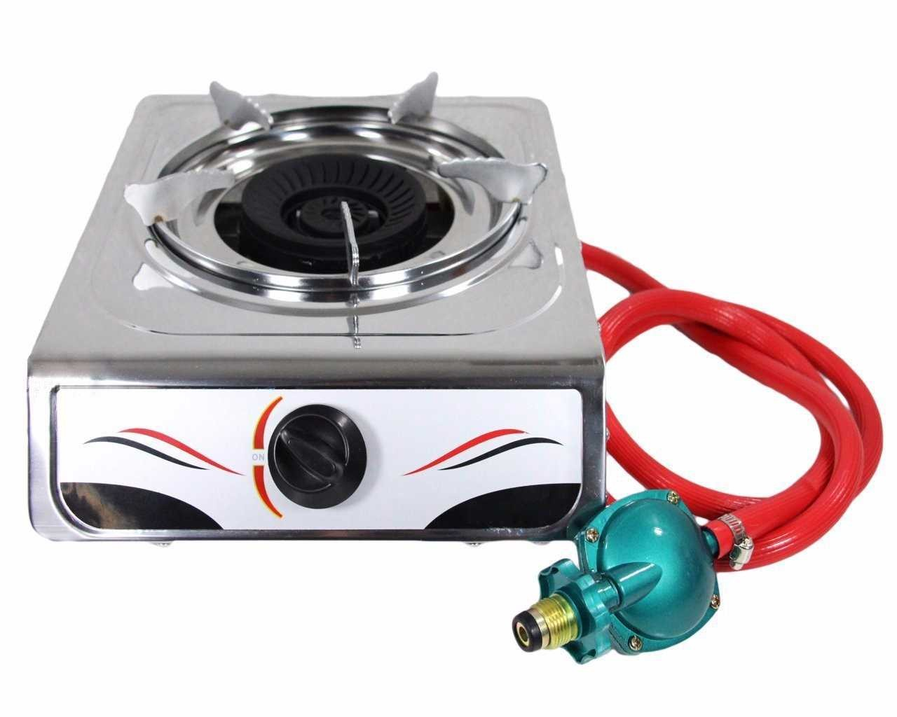 Bioexcel Portable Auto Ignition 15,000 BTU Single Burner Propane Gas Stove  Stainless Steel Body   Perfect