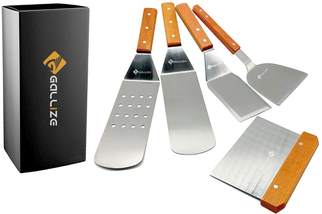Gallize Stainless Steel Metal Spatula with Wood handle - Single Set of 5 - For BBQ Grill Griddle - Dough Scraper, Griddle Scraper, Griddle Spatula,Perforated Turner