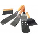Bioexcel Stainless Steel Spatula with Wood handle - Single Set of 5 - For BBQ Grill Griddle - Dough Scraper, Griddle Scraper, Griddle Spatula,Perforated Turner