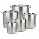 Bioexcel Set of 5 Aluminum Stock Pots with Streamers & Lid Covers - 20 QT, 24 QT, 32 QT, 40 QT, 52 QT
