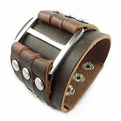 Bioexcel Coffee Men's Cool Wide Big Buckle Rivet Genuine Leather Cuff Wristband Bracelet Bangle